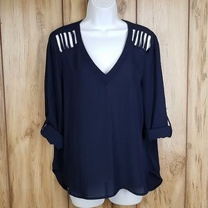 NWOT Lily White Cold Shoulder Navy Blue Blouse